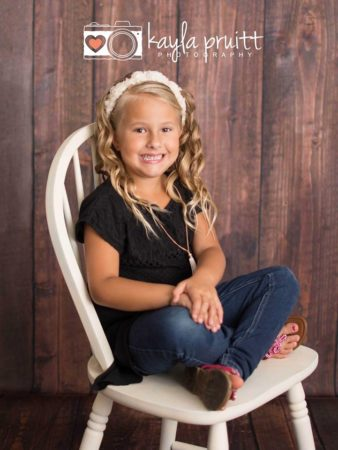 Dark Wood Floorboards Photography Backdrop with young girl