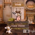 Baby sitting in crate infront of Farm Fresh backdrop