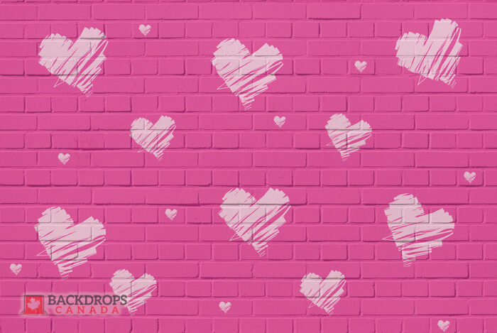 Pink Brick with White Hearts Photography Backdrop