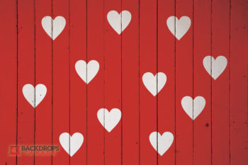 Red Wood with White Hearts Photography Backdrop