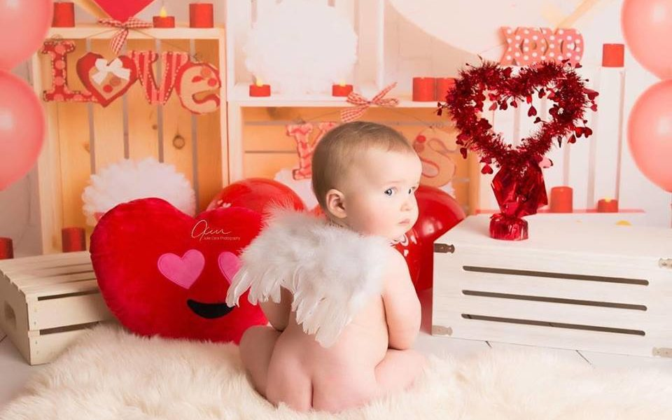 Valentine's Day Photography Backdrop with baby wearing angel wings