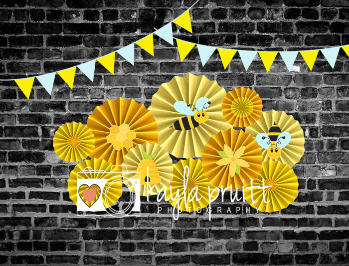 Bee themed Yellow Pinwheels Photography Backdrop