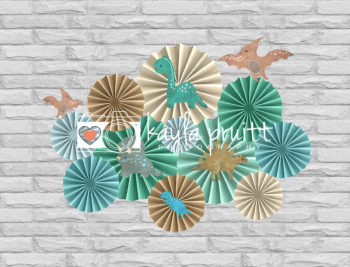 Dino Pinwheels Photography Backdrop