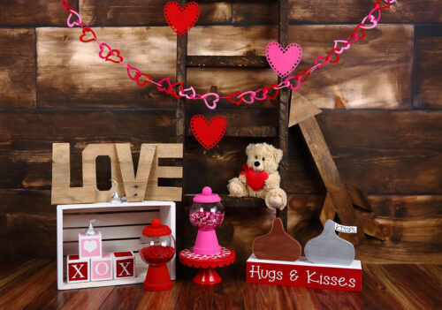 Hugs n Kisses Valentine's Day Photography Backdrop