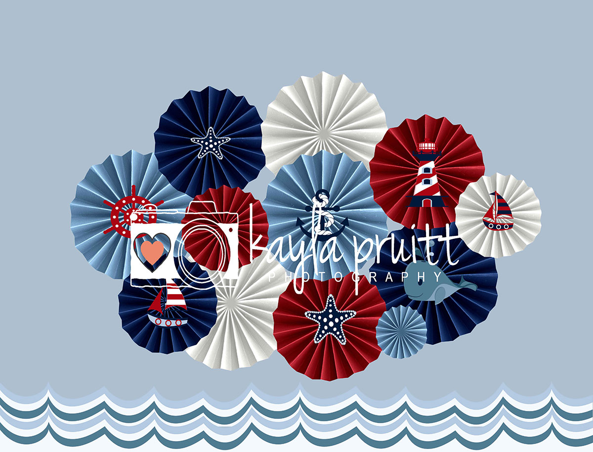 Nautical Pinwheels Photography Backdrop
