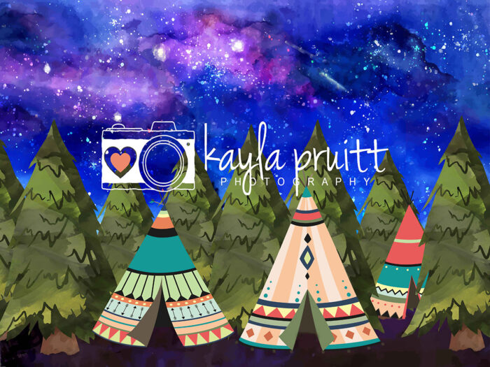 Painted Teepee Photography Backdrop