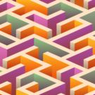 Multicolour Orange Maze Photography Backdrop