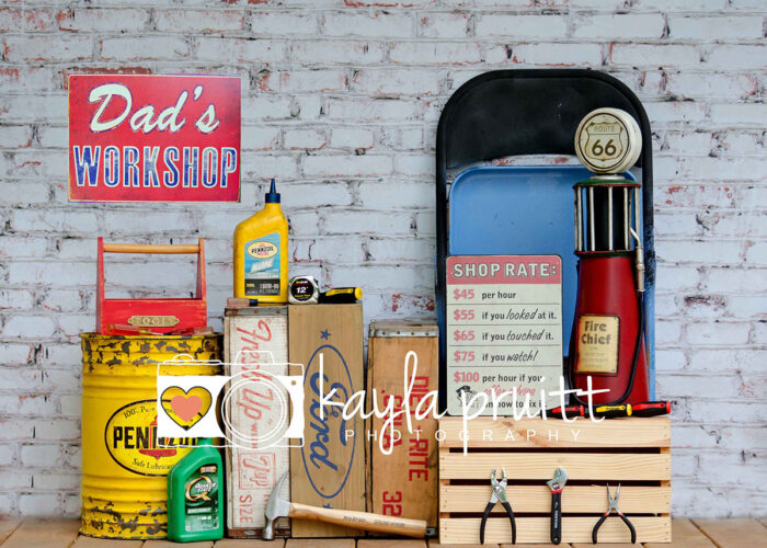 Dad's Workshop Photography Backdrop