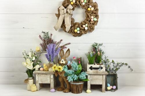 Easter Egg Wreath Photography Backdrop