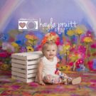 Watercolour Rainbow Photography Backdrop with little girl