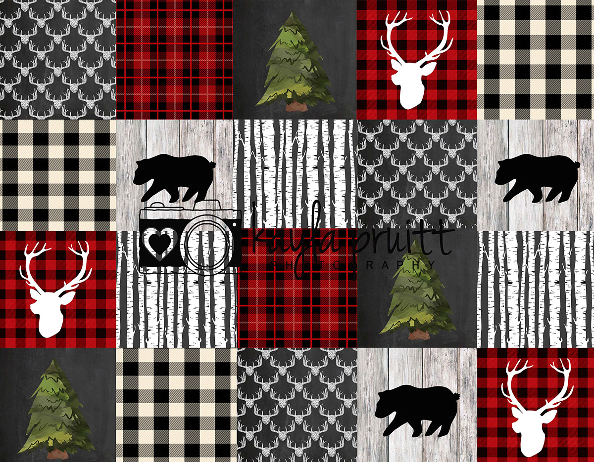 Lumberjack Patchwork Photography Backdrop