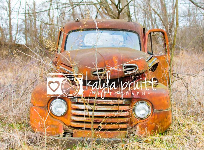 Rusty Truck in field Photography Backdrop