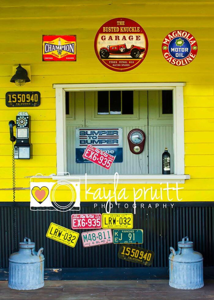 Yellow Garage Photography Backdrop