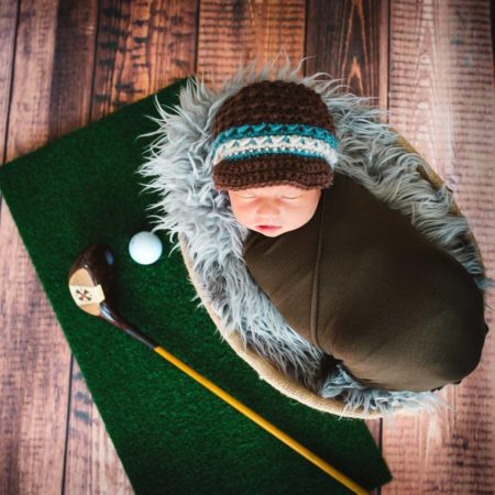 Newborn Photography Golf theme with Burnt Wood Backdrop by Lime Star
