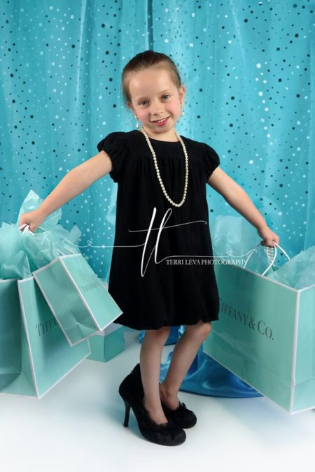 Tiffany Themed Backdrop with Little Girl holding shopping bags