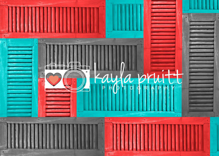 Coral Mint Shutters Photography Backdrop