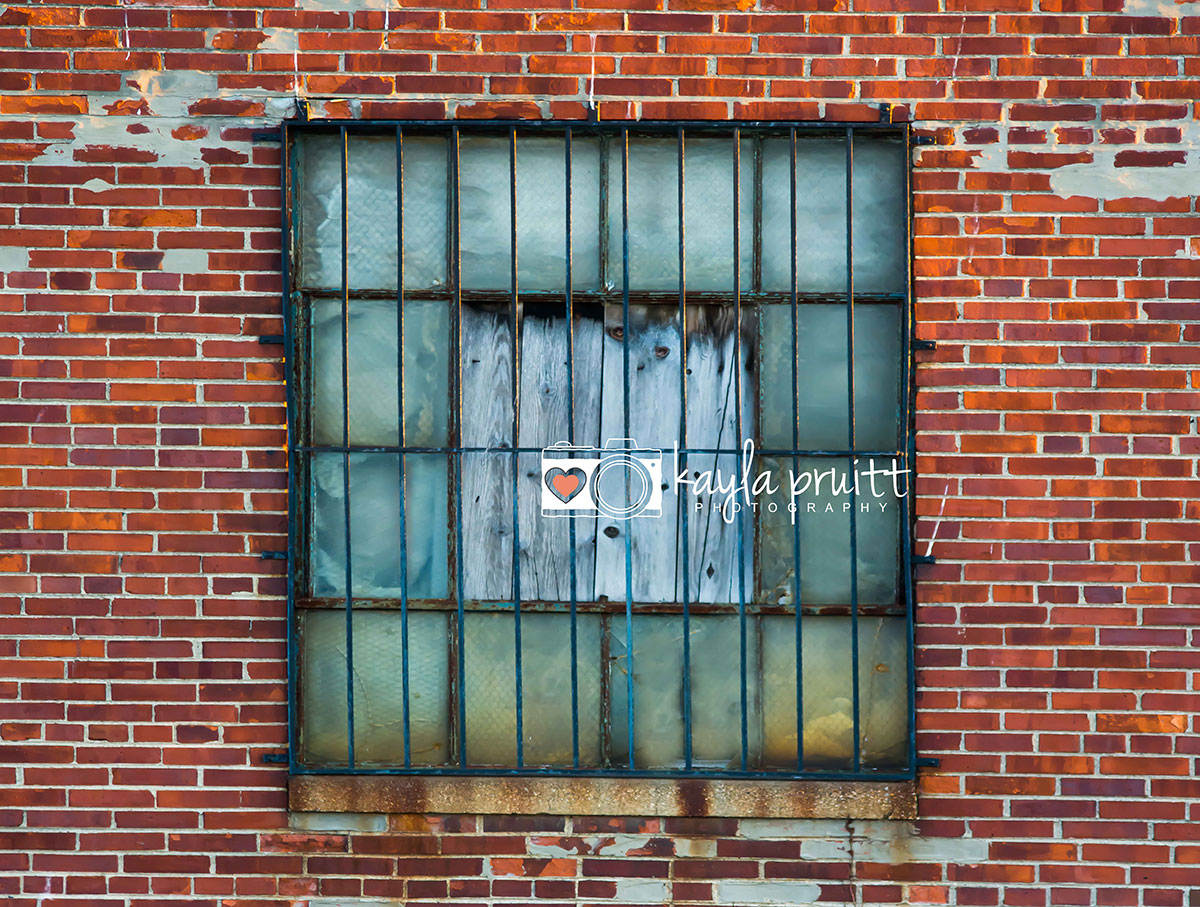 Brick Wall with Bars over Window Photography Backdrop