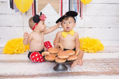 Twins Birthday Session with donuts and white distressed floordrop