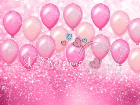 Birthday Balloons Pink Photography Backdrop
