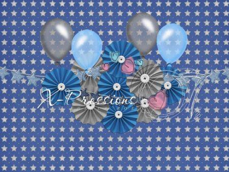 Birthday Stars Blue & Grey Photography Backdrop
