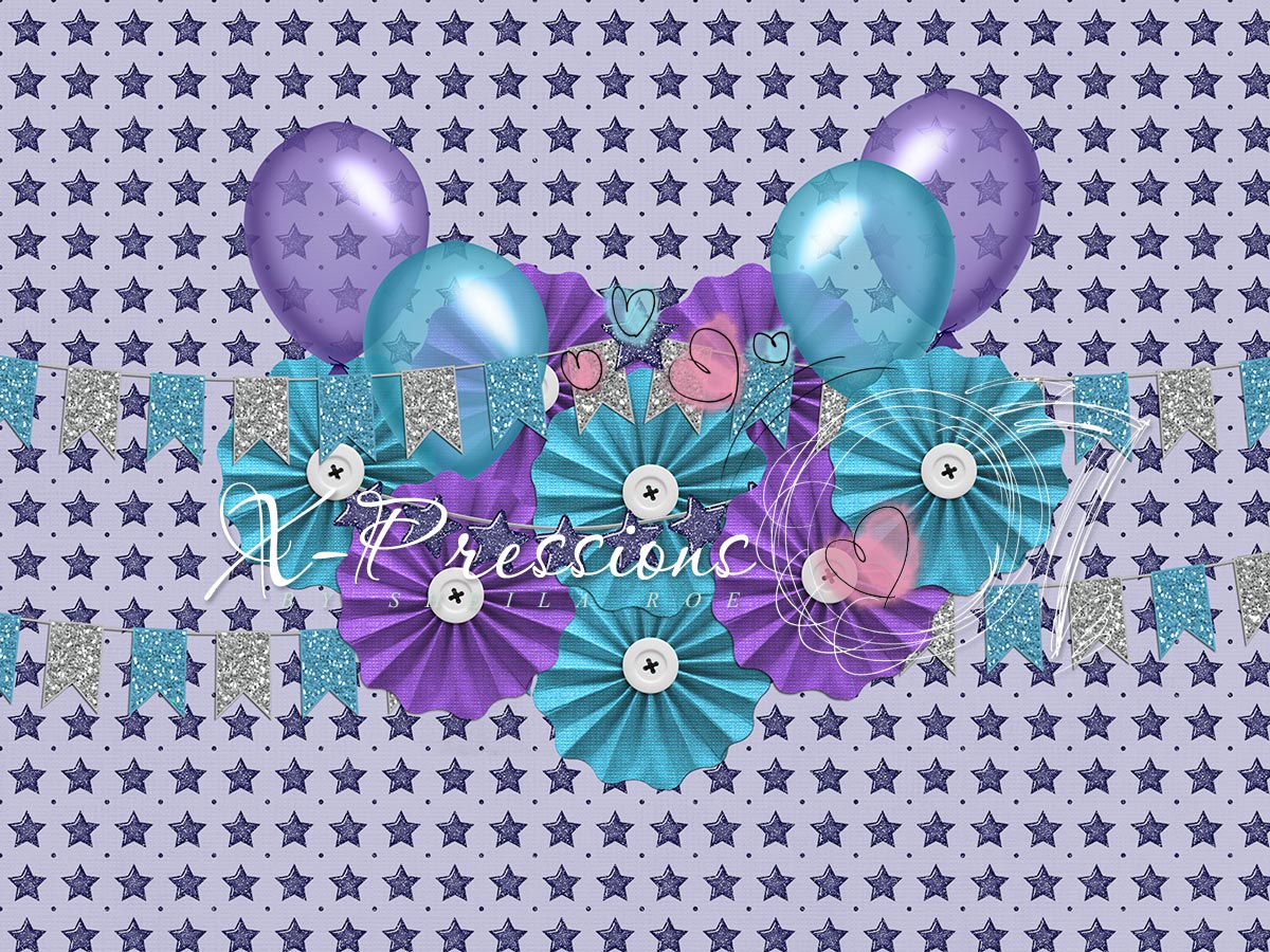 Birthday Stars Purple & Teal Photography Backdrop