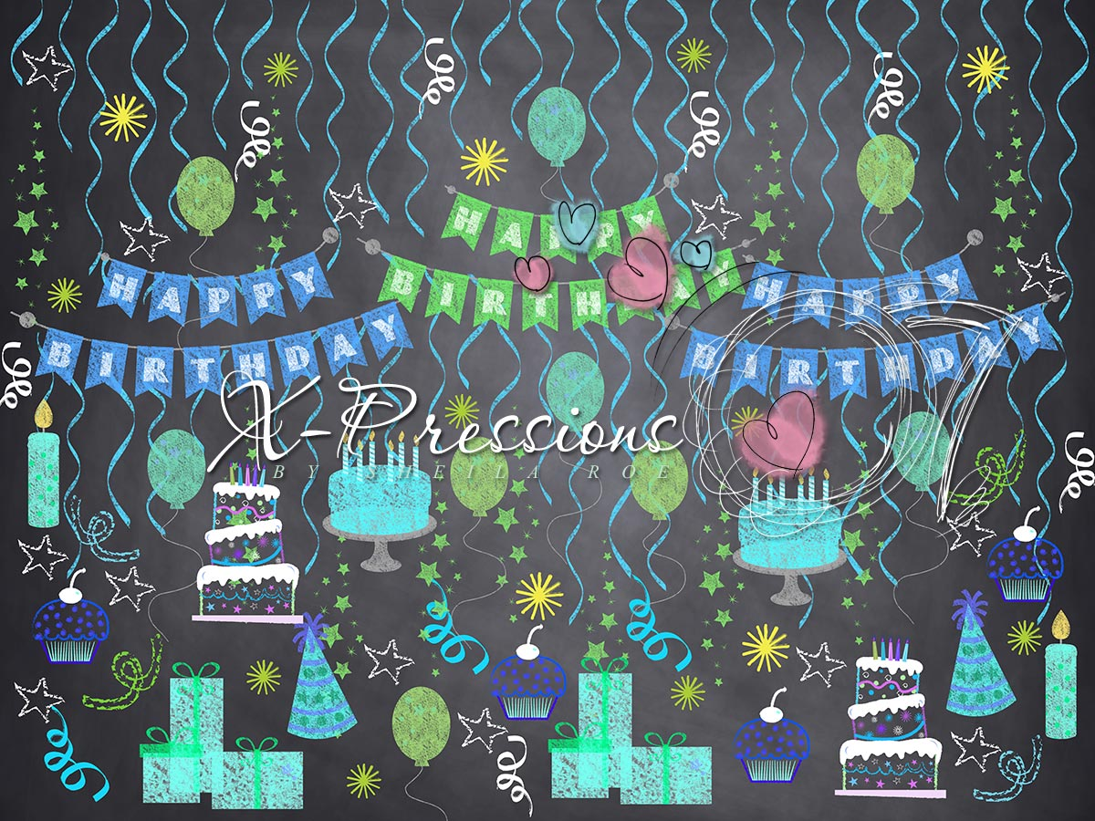 Chalk Birthday Blue Photography Backdrop