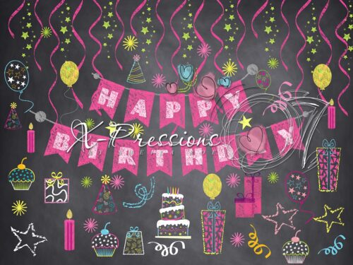Chalk Birthday Pink Photography Backdrop