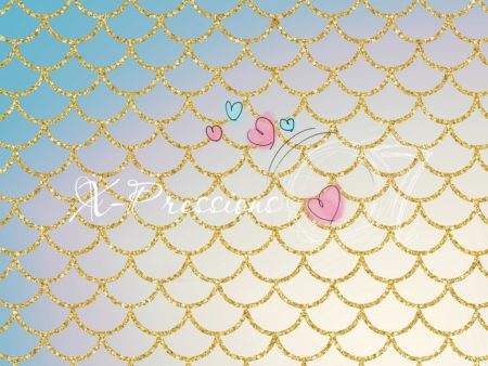 Mermaid Tail Light Teal Photography Backdrop
