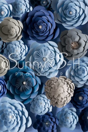 Paper Flowers Blue Photography Backdrop