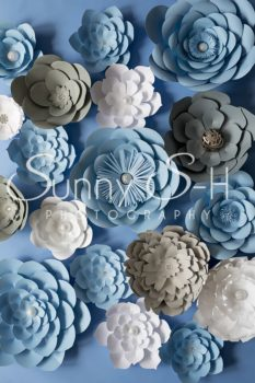 Paper Flowers Blue & White