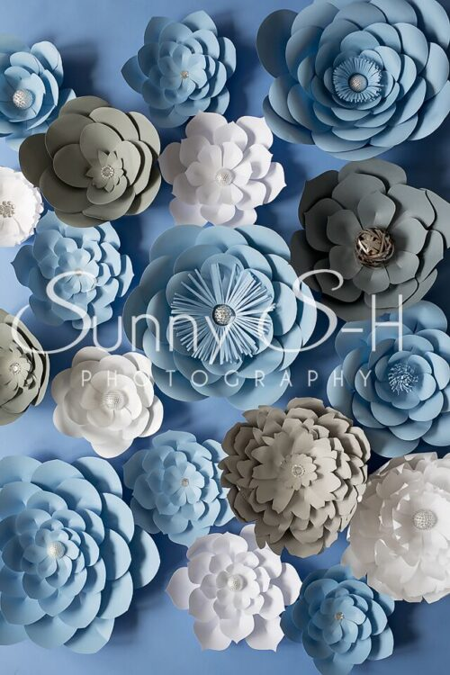 Paper Flowers Blue & White Photography Backdrop