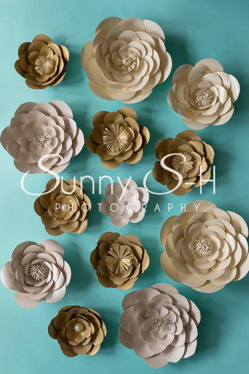 Paper Flowers Gold & Teal Photography Backdrop