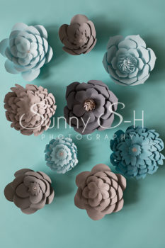 Paper Flowers Grey & Teal Photography Backdrop
