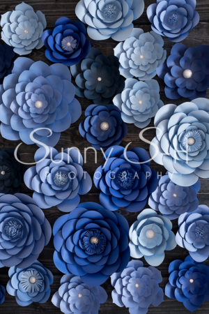 Paper Flowers Navy Blue Photography Backdrop