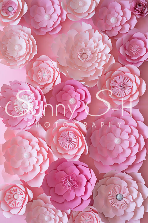 Soft Pink Paper Flowers Photography Backdrop