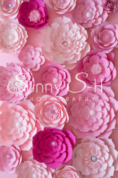 Hot Pink Paper Flowers Photography Backdrop