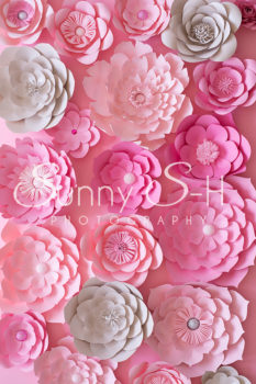 Paper Flowers Pink & Grey Photography Backdrop