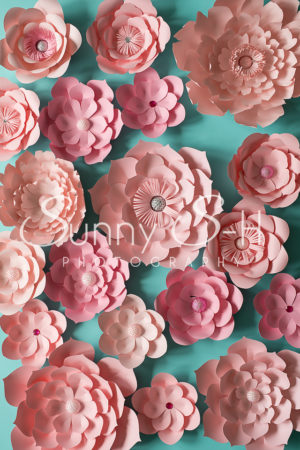 Pink Paper Flowers Photography Backdrop