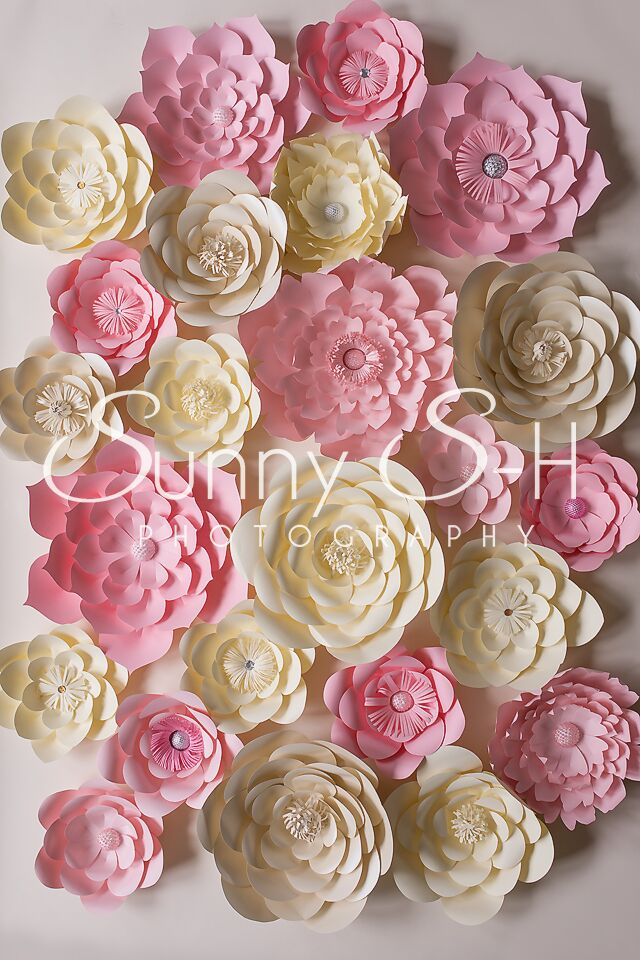 Pink & Yellow Paper Flowers Photography Backdrop