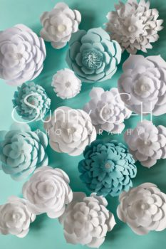 Paper Flowers Teal & White Photography Backdrop