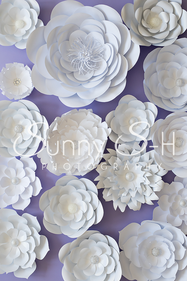 White Paper Flowers Purple Photography Backdrop