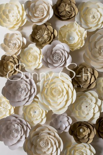 Paper Flowers Yellow & Brown Photography Backdrop