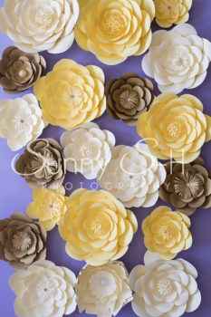 Yellow Brown Paper Flowers Photography Backdrop