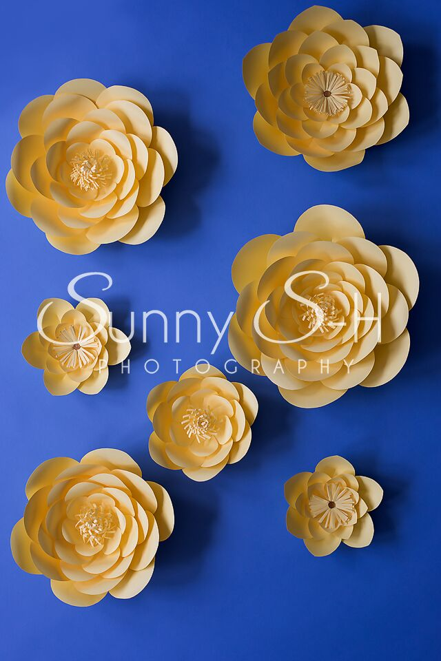 Yellow Paper Flowers Blue Photography Backdrop