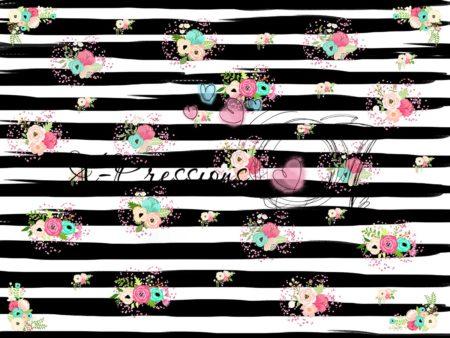 Pinstripe Bouquet Black Photography Backdrop