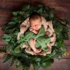 Dark Wood Floorboards with newborn in posing bowl