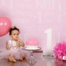First Birthday Princess Photography backdrop with little girl number one and cupcake