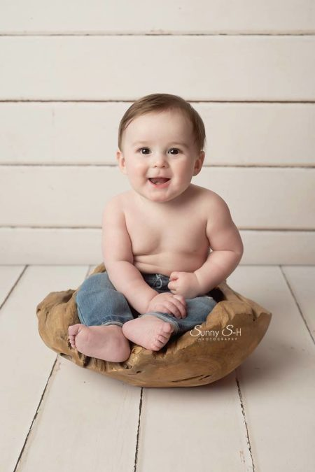 Baby Boy sitting in wooden bowl photography prop