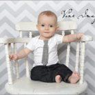 Chevron Grey Backdrop with little boy sitting in chair