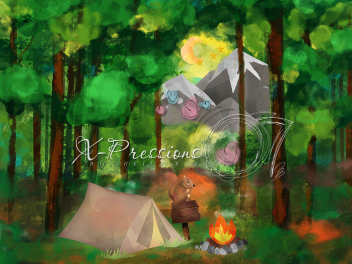 Camping in the Woods Backdrop